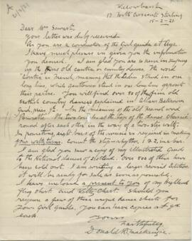 Letter from Donald R Mackenzie to Ysobel Stewart