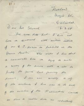 Letter from John M Duthie to Ysobel Stewart