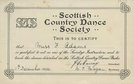 Florence Adams' SCD Instructor Certificate