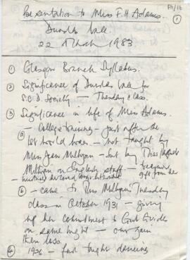 Handwritten programme for a 'Presentation to Miss F.H. Adams