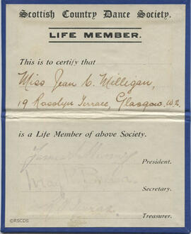 Membership card of the SCDS
