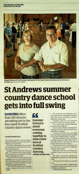 Dundee Courier 280716 report on Summer School