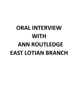 Interview with Ann Routledge- East Lothian Branch
