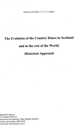 The Evolution of the Country Dance in Scotland and in the rest of the world. Historical approach