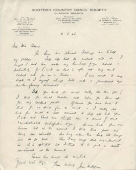 Letter from Jean Milligan to Florence Adams