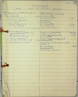 Notebook recording plans for each class of a series of evening classes given by Florence Adams