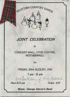 Programme for  'SCD Joint Celebration in Concert Hall, Civic Centre, Motherwell'