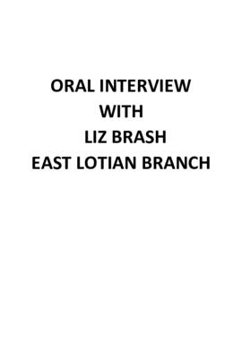 Interview with Liz Brash- East Lothian Branch