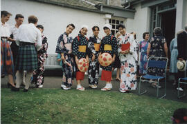 Photographs of a group of women in Japanese costume at Summer School garden party