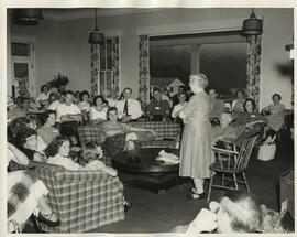 Photograph of Jean Milligan  speaking to an audience in Bedford, New Hampshire