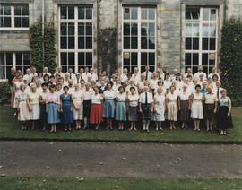 Photograph of large group of participants, teachers and staff, taken outside