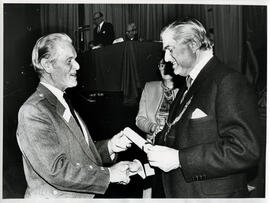 Photograph of scroll recipients and members at the AGM, 1988