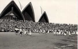 Photographs of dancers performaing  demonstration in front of Sydney Opera House