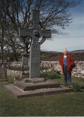 Photograph of Jean Sim, taken at Kildalton High Cross, Islay