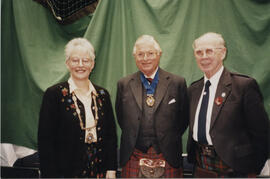Photograph of Linda Gaul, Lord Mansfield & Bill Clement at the AGM, 1998