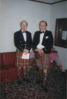 Photograph of Alastair MacFadyen and Alastair Aitkenhead at University Hall