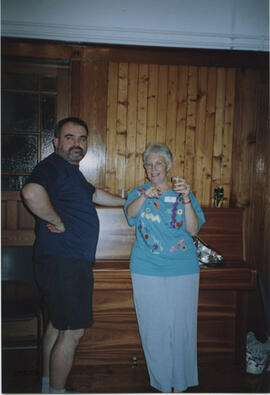 Photograph of Linda Gaul and Gabor Turi taken in the party room