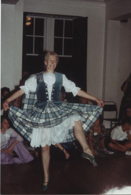 Photographs of Pam Dignan dancing at Summer School ceilidhs