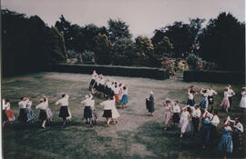 Photograph of dancing outside at Hepburn Hall, St Andrews