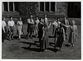 Photograph of  Miss Jarvis, teaching an outdoor class, at Summer School