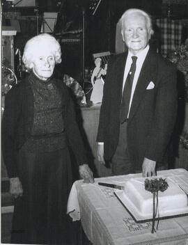 Photograph of Kath McCulloch (president) and Bill Little (teacher) at the Annual Dance to mark the 50th anniversary of the Gatehouse of Fleet Branch