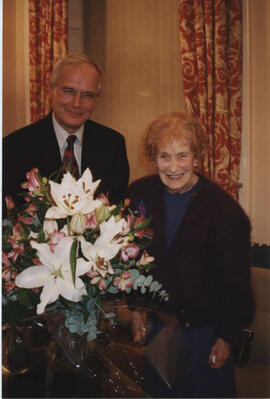 Photograph of Stewart Adam & Muriel Gibson at a party to celebrate her 90th birthday.