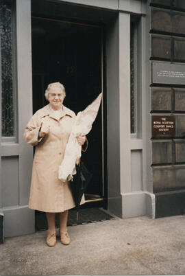 Photograph of Susan Inglis outside RSCDS Headquarters