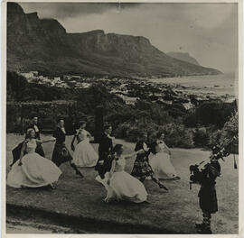 Photograph of the International team in South Africa Dancing The Glasgow Highlanders at Camps Bay