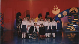 Photographs of young Scottish country dancers taken during filming of a Blue Peter TV Event
