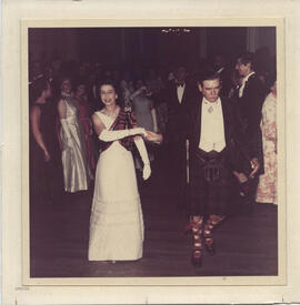 Photograph of H.M. The Queen and Sir Iain Moncrieffe taken at the RSCDS Jubilee Ball