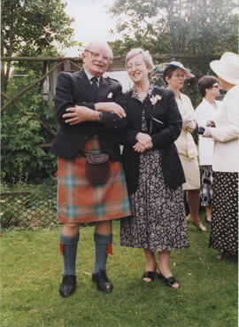 Photograph of  Alastair Aitkenhead and Jean Martin, at the 75th Anniversary Garden Party