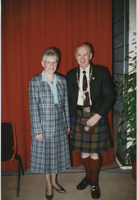 Photograph of Linda Gaul and Bill Clement, Chairman and Vice Chairman on their appointment at the AGM in Dundee, 1996.