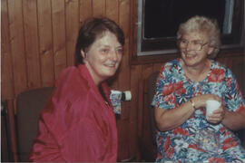 Photograph of Dorothy Hamilton and Brenda Burnell taken in the party room