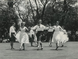 Photograph of the International team dancing in South Africa