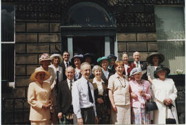 Photograph of Members gathered at Coates Crescent before leaving for the  Jubilee Garden Party