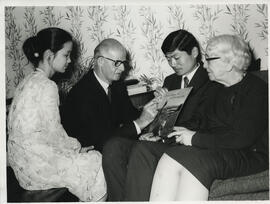 Photograph of Jimmy Shand, Jean Milligan and two unnamed students