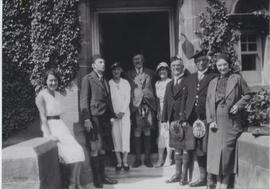 Photograph of a group outside University Hall