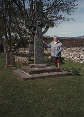 Photograph of Mragaret Prentice, taken at Kildalton High Cross, Islay