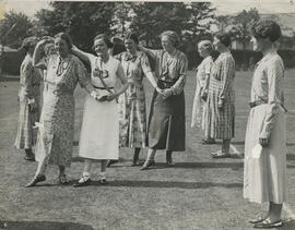 Photograph of set dancing outside at Summer School