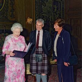 Photograph of HM Queen with Elspeth Gray and Alan Macpherson