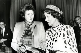 Photograph of Joan Moore and Muriel Gibson at the AGM, 1988