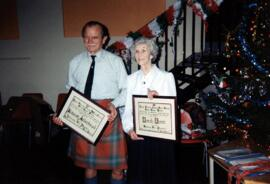 South Argyll- Photograph of Alastair Aitkenhead and Norah Dunn, Having been presented with Certificates as Hon. Vice Presidents of South Argyll Branch