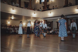 Photograph of Anna Holden, Summer School director and Alastair Aitkenhead, dancing 'Take the Floor' in the Younger Hall