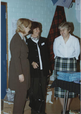 Photograph of Linda Bates, June Dick and Eileen Watt at the AGM, 2001