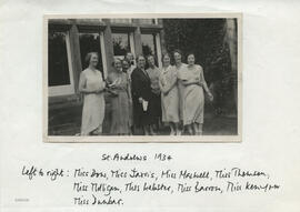 Photograph of a group in front of University Hall