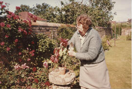 Photograph of Margaret Anderson, Prestwick, taken in her garden