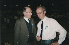 Photograph of George Lawson (L) and Alan Mair (R) taken at St. Andrew's Celebration Day of Dance in Bell's Sports Centre, Perth