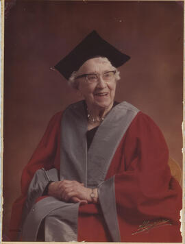 Photograph of Jean Milligan in Graduation robes following her receiving an honorary degree from t...