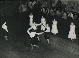 Photograph of a  demonstration at the Younger Hall