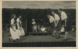Photograph of The International Team on styage at the Aberfeldy Games